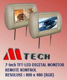headrest led monitor mtech-m7080